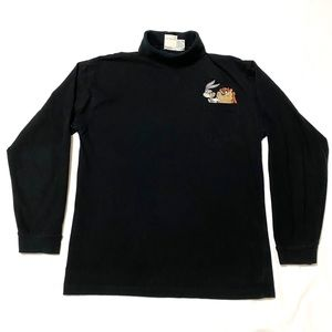 Vintage 90s Looney Toons Embroidered Turtle Neck